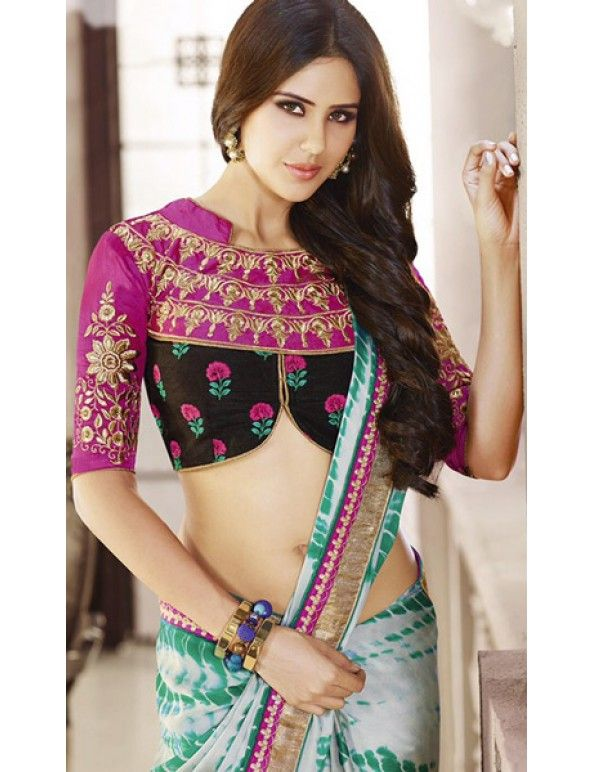 Amaira In Pink, Green And Black Satin Georgette Embroidered Saree