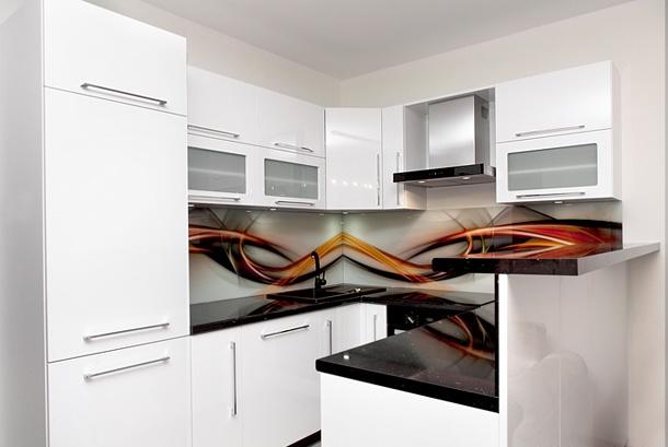 Kuchnia nowoczesna z grafiką za szkłem lacobel  Kuchnie   -> Kuchnia Nowoczesna Inspiracje