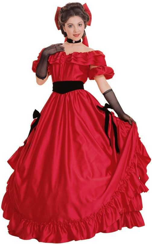 Southern Civil War Costumes | Super Deluxe Red Southern Belle Costume