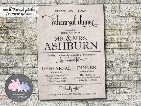 Rehearsal Dinner Invitation, Vintage Rehearsal Dinner Invitation, Rustic Kraft Paper Rehersal Invitation 5x7 Custom, Digital, Printable