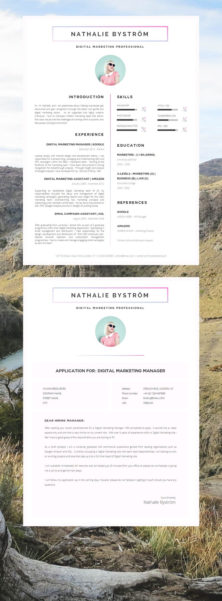 cv template rsum template for word cover letter advice 1 2 page cv templates included instant download mac or pc compton