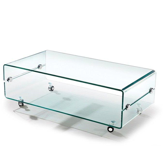 Wonderful Modern Bent Glass Coffee Table On Casters Slide. Part 10