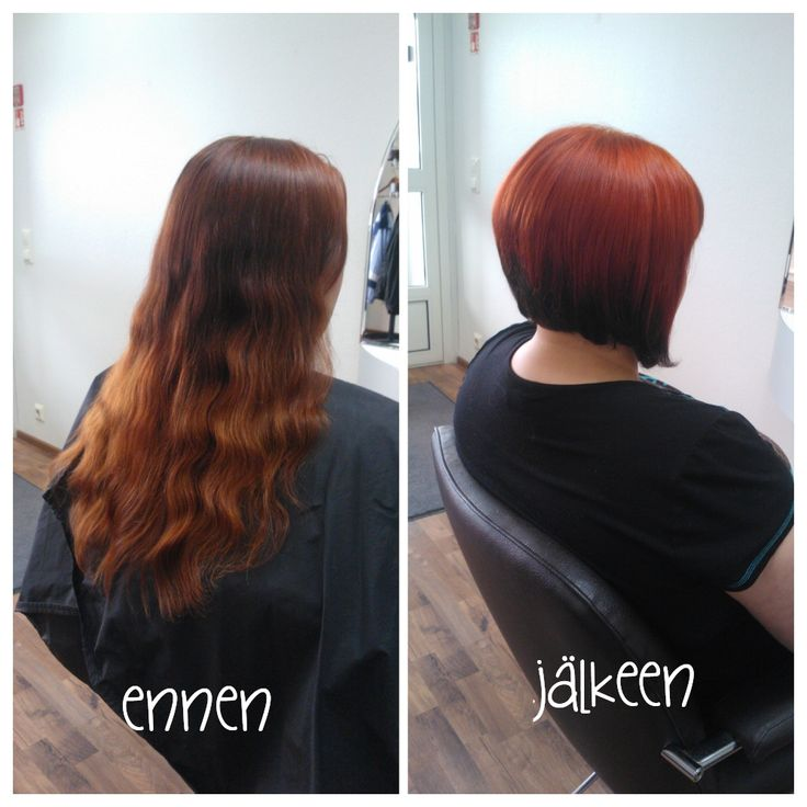 Before and after photos of haircut and haircolour. Hair by Emmi/Parturi-kampaamo Salon Maria Seinäjoki