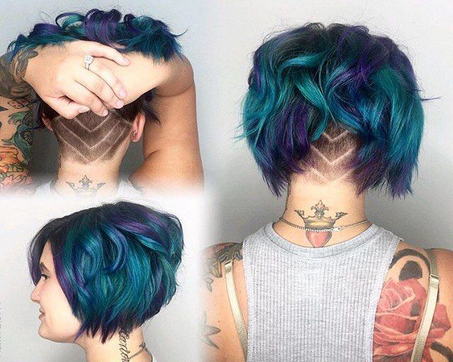 Peacock Inspired Tones Undercut Bob Hair By @shivamom