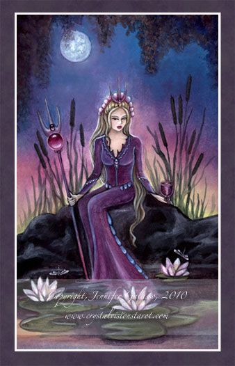 The Queen of Cups is warm, sensitive, and highly emotional. She's a gentle nurturer and an empathetic care-giver. The Queen of Cups is a loved by all, as she is always honest and fair. She is poetic dreamer, a warm and loving spouse, and a compassionate mother to all. She is patient, highly intuitive and spiritual. - CRYSTAL VISION TAROT