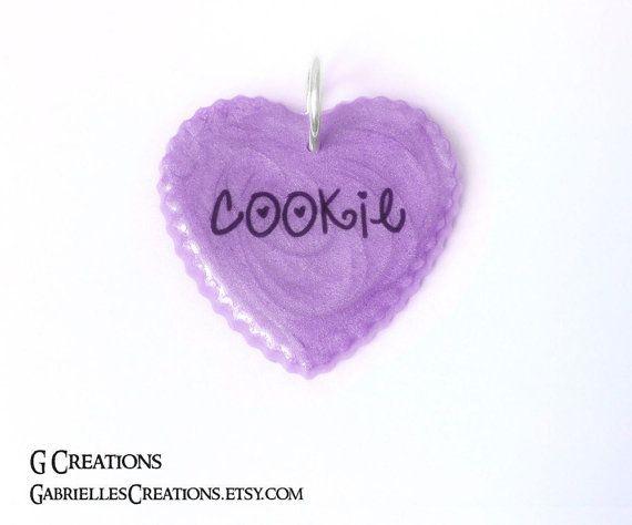 Large Heart Dog ID Tag  Custom Glitter & by GabriellesCreations