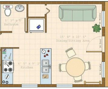 16 ft x 20 ft tiny house floor plans pinterest tiny for Cottage plans with loft and big kitchen