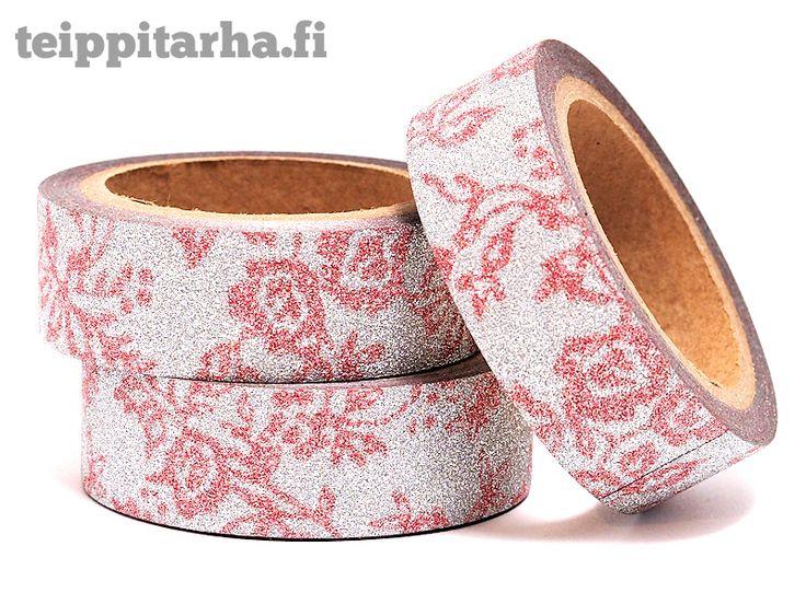 Glitter paperiteippi, ruusut (vaaleanpunainen)