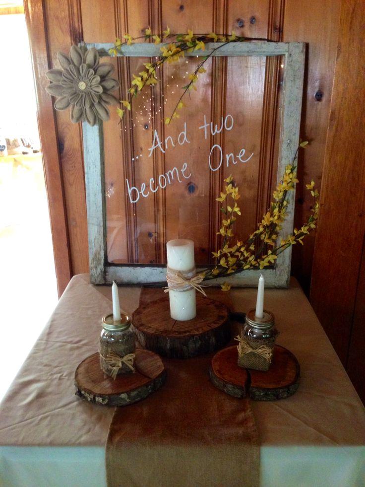 Wedding unity candle. Rustic barn country wedding. Diy. Old window.