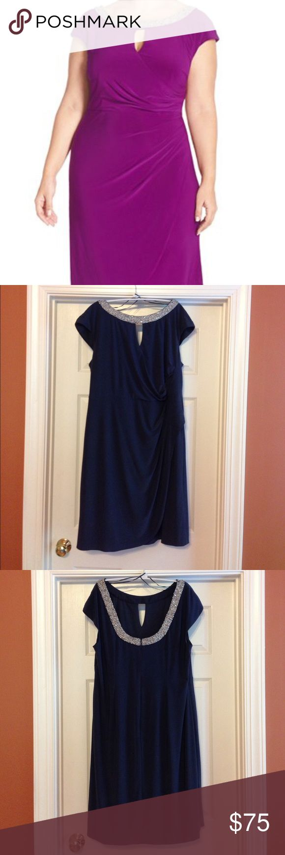 Alex Evenings Plus Size Faux Wrap Cocktail Dress Alex Evenings faux wrap cocktail dress with beautiful silver beaded neckline, keyhole detail, moderate scoop back and cap sleeves. Medium steel blue matte jersey (95% polyester, 5% spandex) as shown in last picture. ***Disclaimer - actual size on tag is 16W. Runs large per my experience and per Nordstrom's website, fits like a 18W. Worn once. In excellent condition. No defects. Hand wash! Pink cover photo from Nordstroms.com to show fit. Smoke…