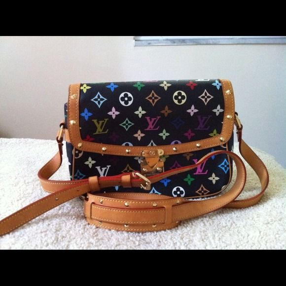 Auth Louis Vuitton Multicolor Black Sologne Very good clean condition date hard to read no dust bag thanks for looking . Louis Vuitton Bags