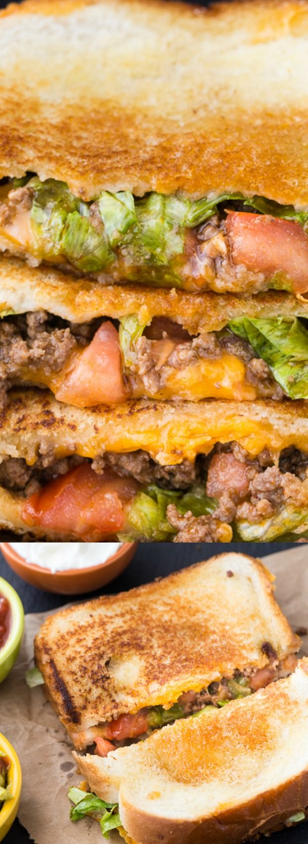 This Taco Grilled Cheese Sandwich recipe from Simply Stacie takes everything you love about tacos and combines it with the favorite classic! It's loaded with taco classics like seasoned ground beef, tomatoes, and lots of cheddar cheese!