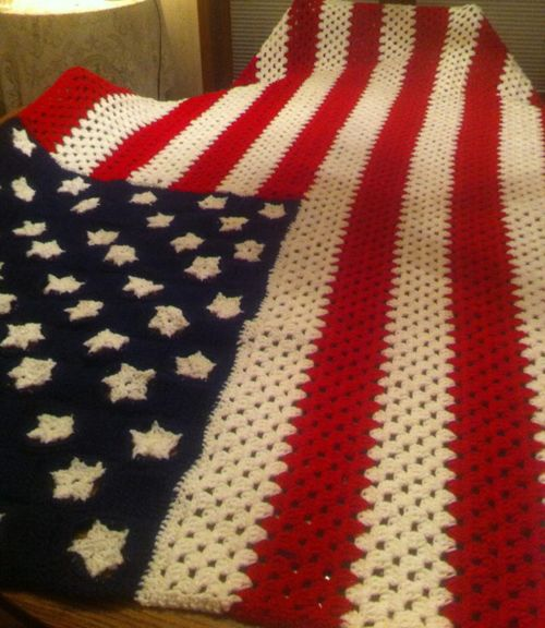 Crocheted Flag Pattern...Free PDF....could even use crochet thread to ...