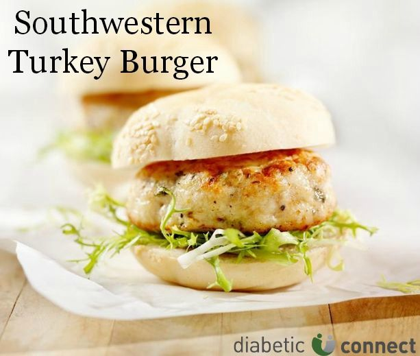 With only 8 grams of carbs per serving, why not give these tasty southwestern turkey burgers a try? diabeticconnect.com #diabetesfriendly #diabetesdiet