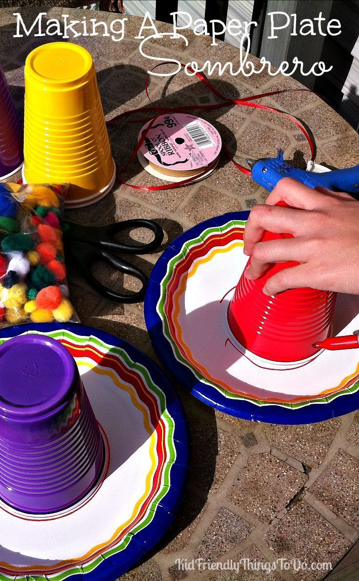 Make a Paper Plate Sombrero for Cinco De Mayo or anything else you can think of! KidFriendlyThingsToDo.comm