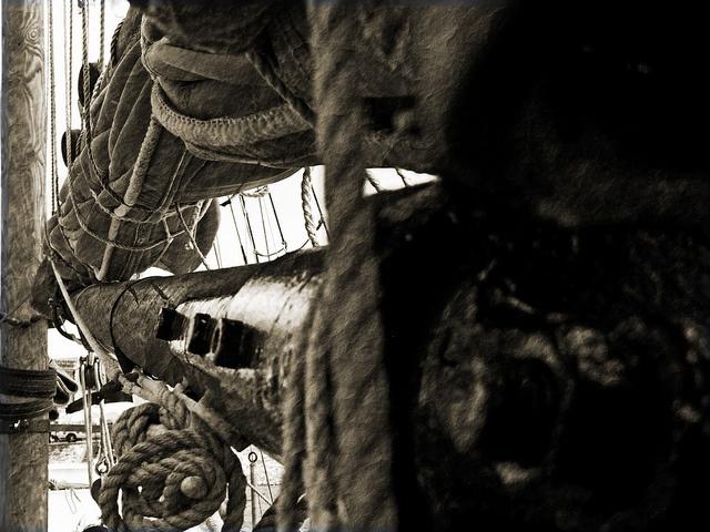 Detail of John Cabot's ship 'Matthew': at Cardiff Bay, 2011