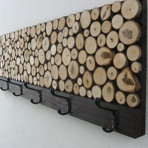 Log slice coat rack
