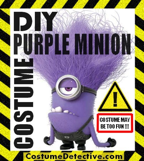 DIY Evil Purple Minion Costume with ideas for making or assembling your own evil minion costume. Create your own your evil minion army.