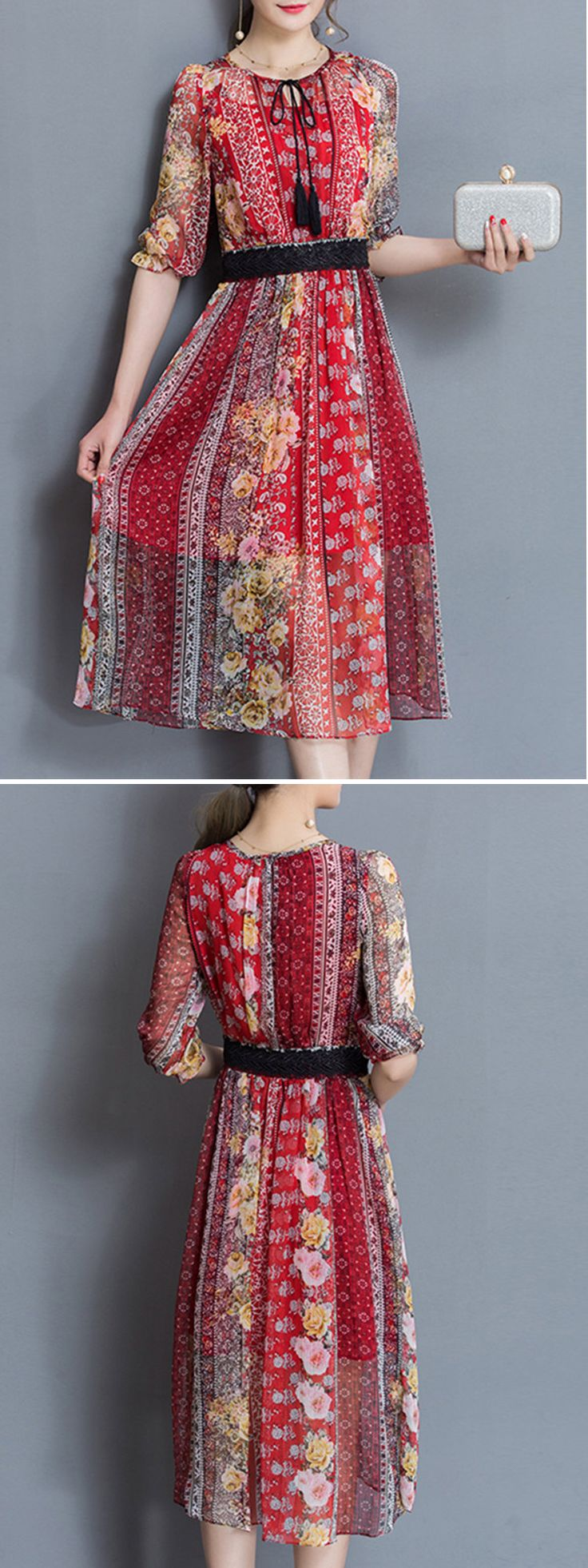 Elegant Women Floral Printed Chiffon Half Sleeve Dresses