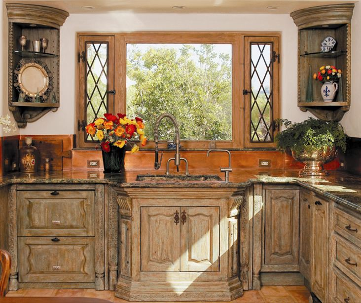 custom built french country kitchen cabinets these untique kitchen cabinets are constructed from antique doors antique carved legs antique carved columns - Old World Kitchen Cabinets