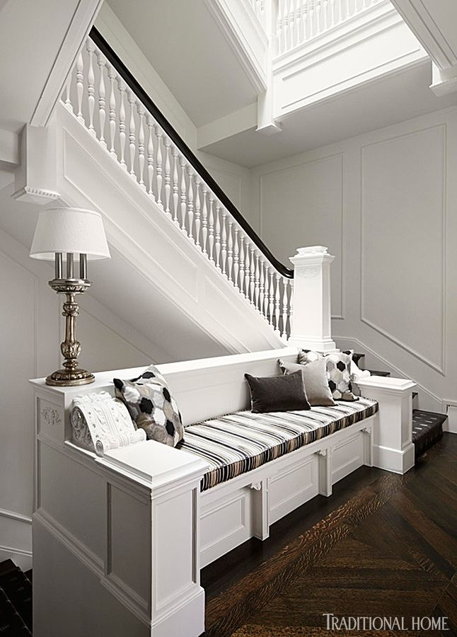 Row House Foyer : Best stairway bench ideas images on pinterest
