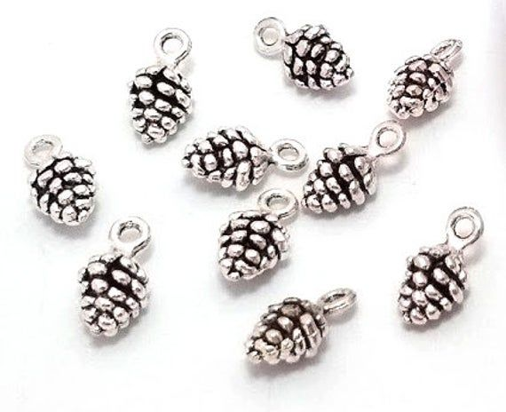 10 X Silver Pine Cones