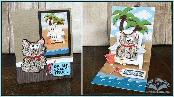 Pop it Ups Adirondack Chair Beach Card - Karen teaches how to assemble Elizabeth Craft Designs #975 Adirondack Chair, plus #987 Palm Tree & Pail and #981 Beach Edges. A styling technique for the Character dies is also shown.