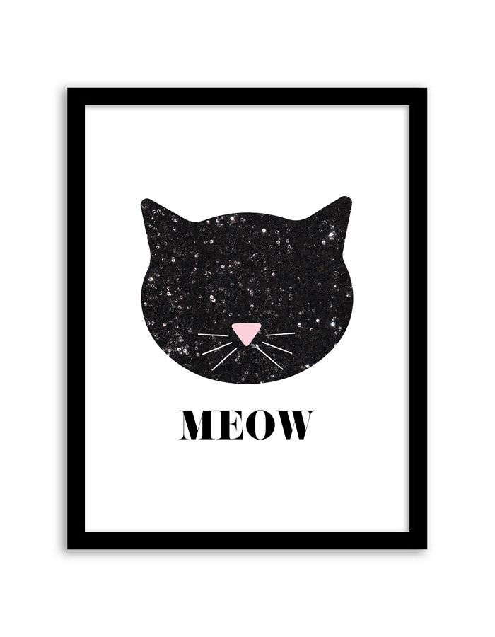 Free Printable Sequin Cat Wall Art | @chicfetti (you just have to support via social media)
