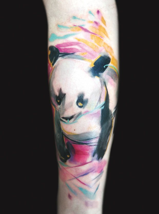 Panda in watercolor tattoo. I think I found my panda tattoo!