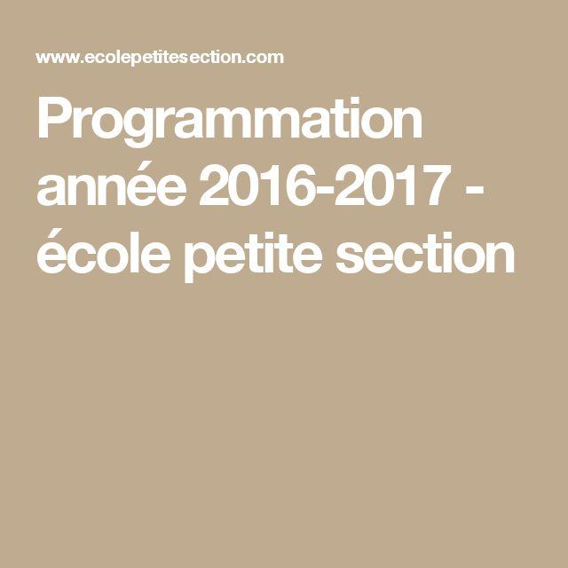 Programmation année 2016-2017 - école petite section Plus