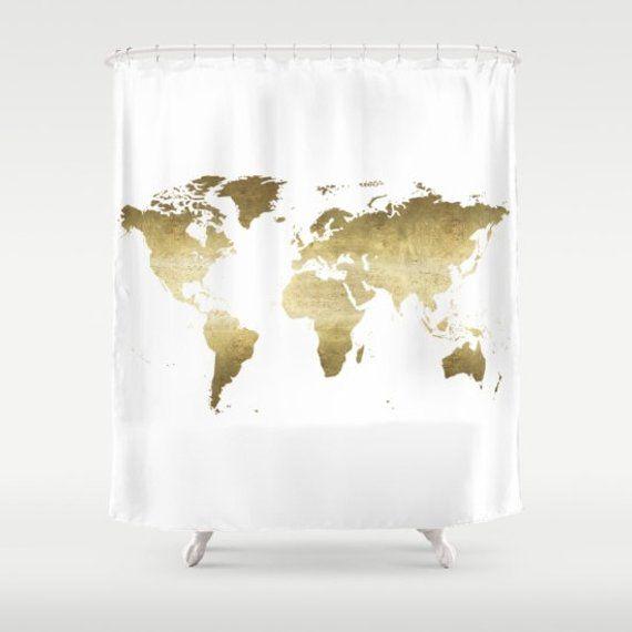 World Map Shower Curtain Gold Foil World Map Girls Bathroom Black Gold Bathroom Decor apartment Shower Curtain travel wanderlust – Products