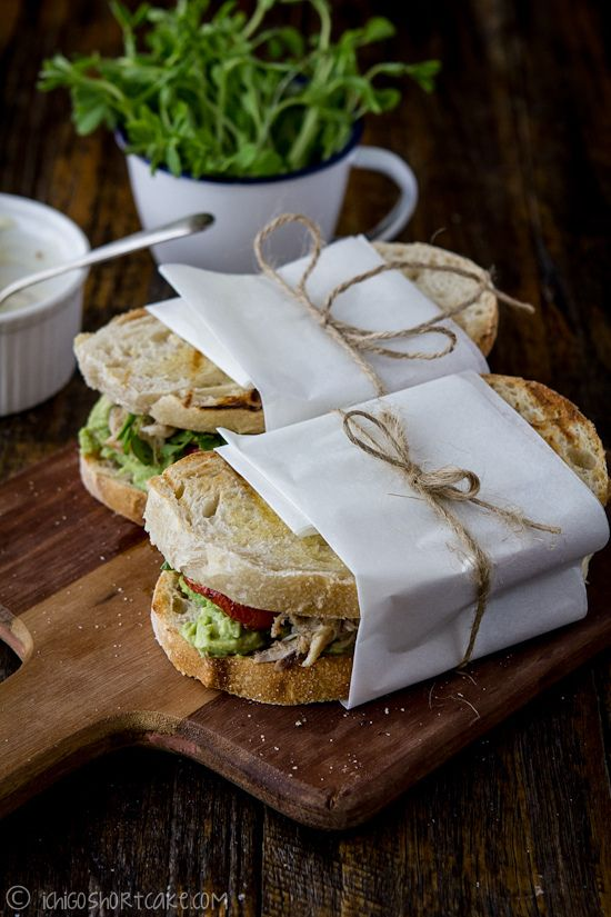 Chicken & avocado sandwich with snow pea sprouts & semi-dried tomatoes…