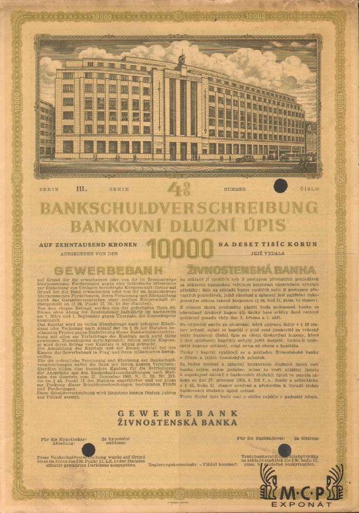 Muzeum cennych papiru A2246 ŽIVNOSTENSKÁ BANKA / Gewerbebank 1940