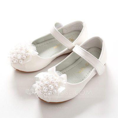 8715ab60449bb Fille de Chaussures de fille de fleur bout rond Bout fermé talon plat  similicuir Brodé Bowknot Velcro Une fleur Chaussures Enfant