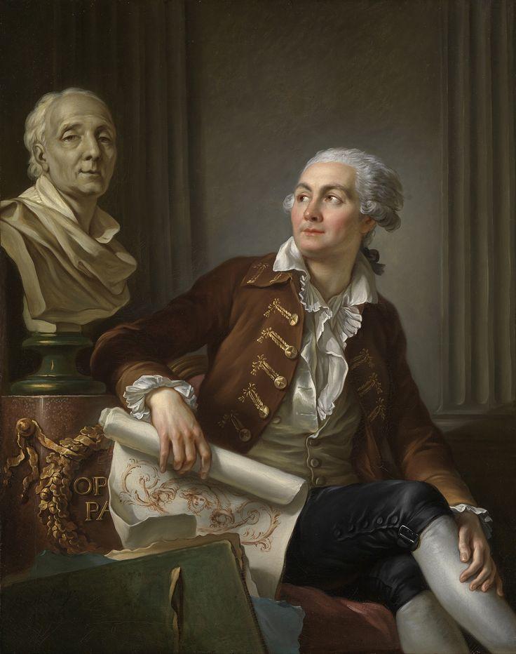 Berthélemy, Jean-Simon - Bildnis eines Herrn mit der Büste des Denis Diderot