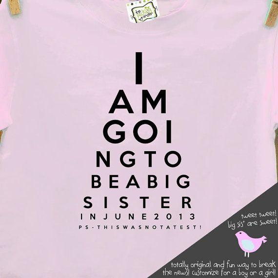Big Sister Shirt Funny Eye Chart Pregnancy Announcement