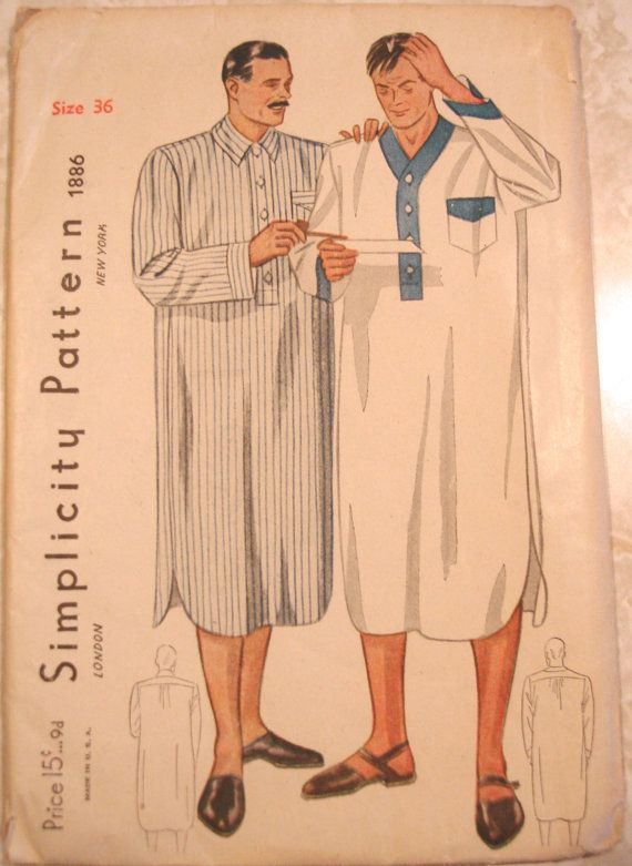 1930s Mens Nightshirt Sewing Pattern Simplicity 1886 Chest 36