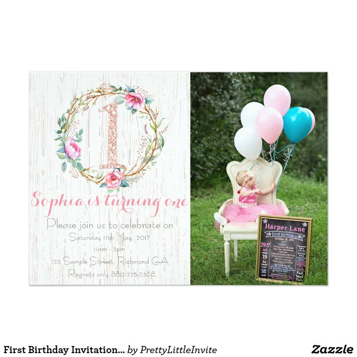 invitation words forst birthday party%0A First Birthday Invitation  Watercolor Floral