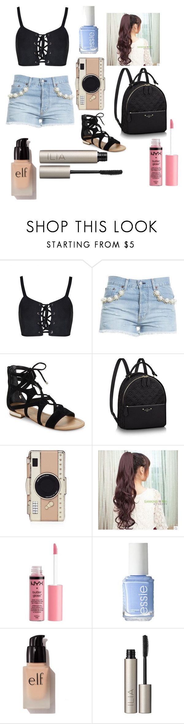 """""""travel outfit"""" by xxtia-ramseyxx on Polyvore featuring Forte Couture, Saks Fifth Avenue, Kate Spade, Charlotte Russe, Essie, e.l.f. and Ilia"""