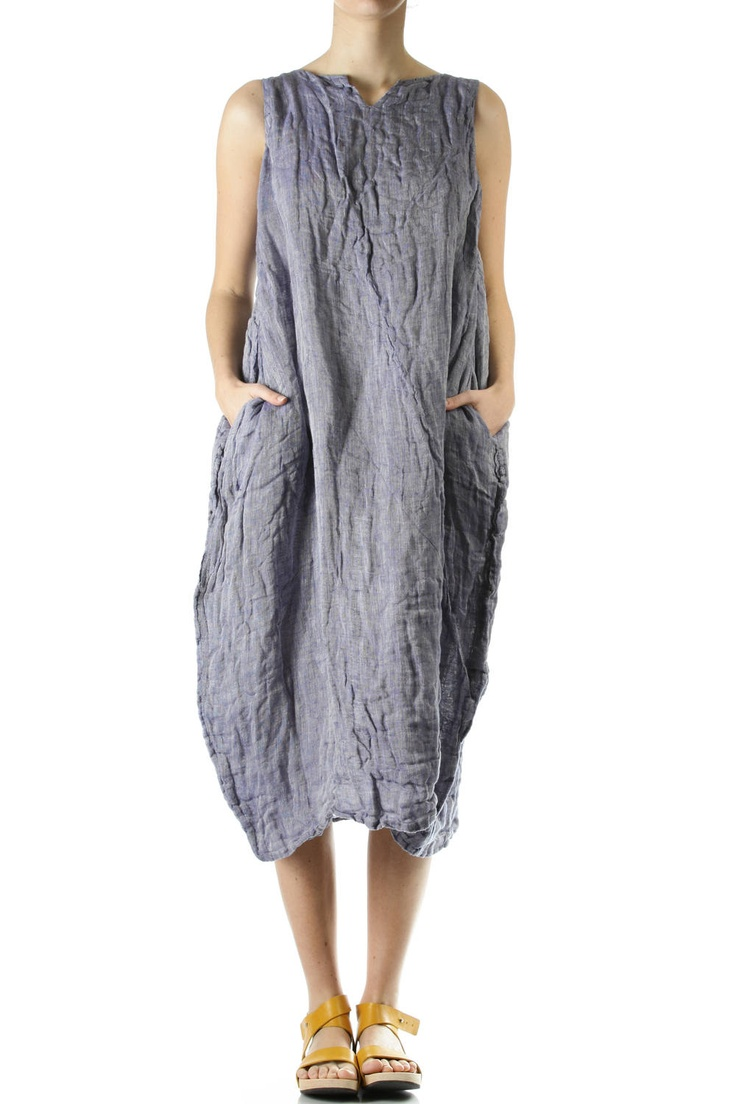 Daniela Gregis- creased melange linen amphora shape dress  amphora shape wide dress in creased melange linen, garment washed, calf length, slit neck with small v shape cut, sleeveless, sides slit pocket, self belt, adjustable length through sides eyelets