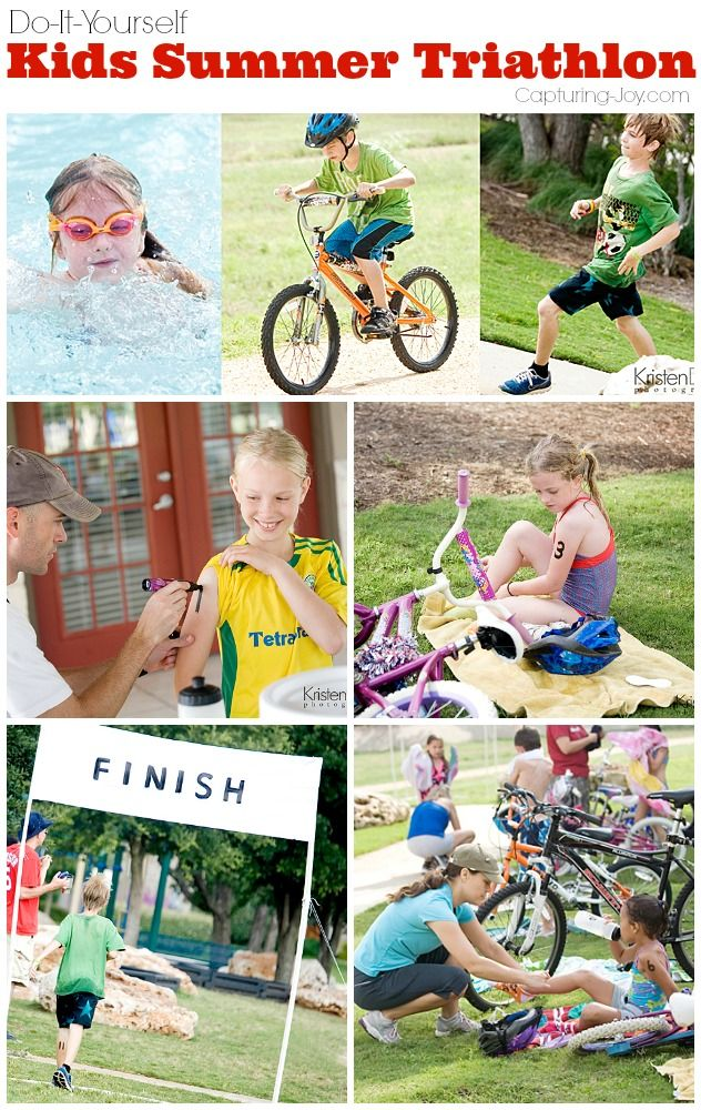 Get your kids moving this summer with this DIY Kids Summer Triathlon!  Great summer activity for kids of all ages!