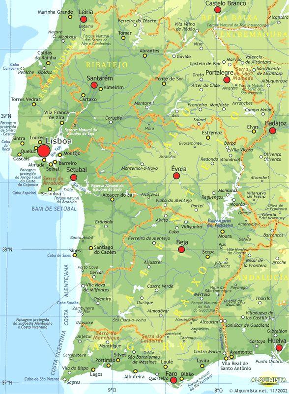 Portugal Carte Du Sud Du Portugal Alquimista En Algarve Et - Portugal map lisbon to algarve