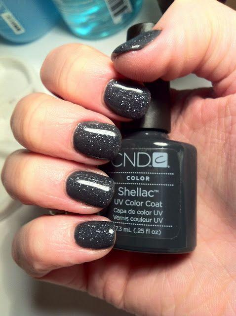 CND Shellac Nail Art - Asphalt and Gosh Grey Moonstone Nail Glitter swash.