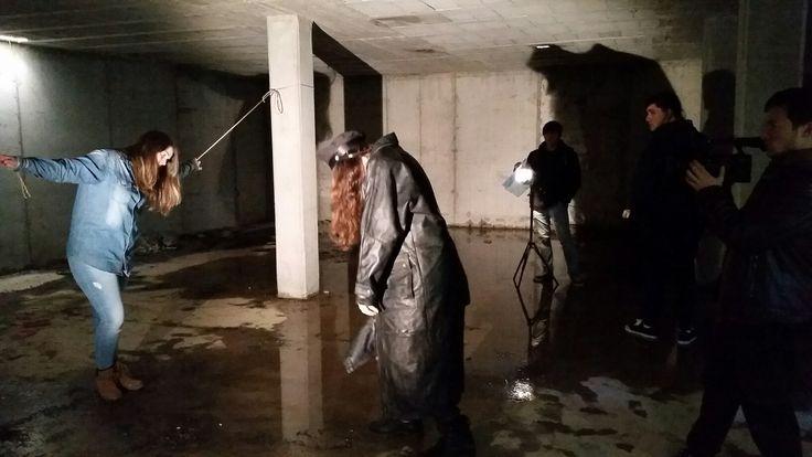 Grabando la escena principal  del video clip (backstage)