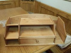 Wooden Desk Organizer With Drawer Natural Color Wood