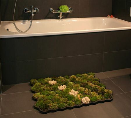 Cool bathroom carpet made of moss. Soft on your feet, and you water the moss when you step out of the shower. Love it!