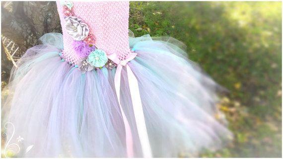 Stunning pastel  flower girl tutu dress