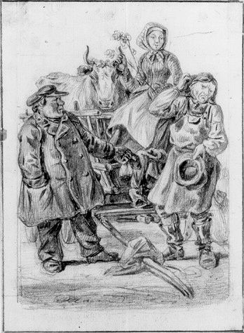 """Ge på hand"" av Carl Andreas Dahlström (1806-69). Nationalmuseum, nr. NMH 231/1906"