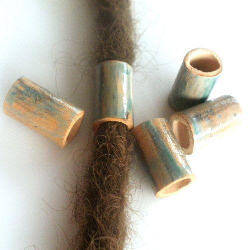ceramic beads on dreads dreadlock cingari clay by SparkleCingari
