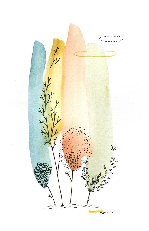 miniforet, aquarelle, cécile hudrisier